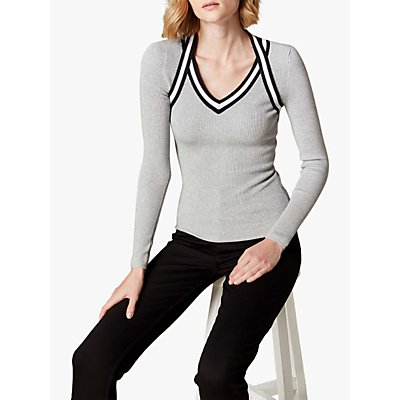 Karen Millen Sporty Rib Top, Grey/Multi