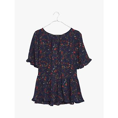 Madewell Floral Silk Ruffle Hem Top, Whisper Moonless Night
