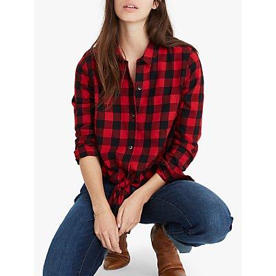 Madewell Tie Front Check Shirt, Sasha Buffalo Cranberry