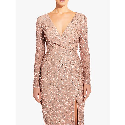 Adrianna Papell Plus Size Beaded Wrap Dress, Rose Gold