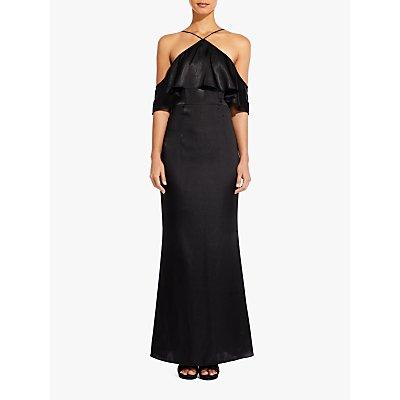 Adrianna Papell Cold Shoulder Frill Satin Dress, Black