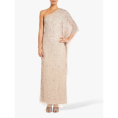 Adrianna Papell Plus Size One Shoulder Embellished Dress, Champagne
