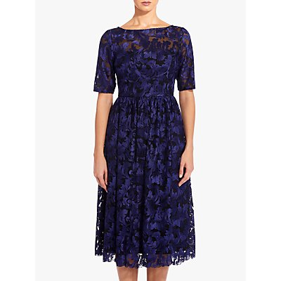 Adrianna Papell Embroidered Dress, Blue Violet