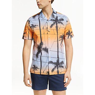 J.Lindeberg Palm Print Shirt, Cool Peach