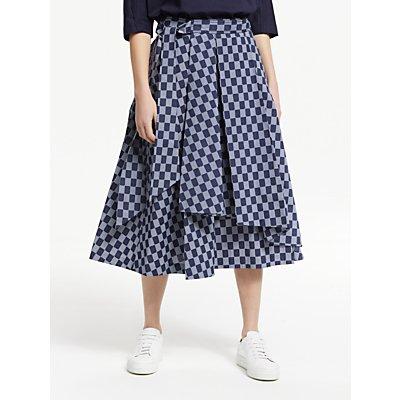 Kin Seiji Printed Staggered Skirt, Blue