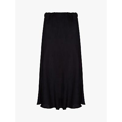 Ghost Josie Satin Midi Skirt, Black