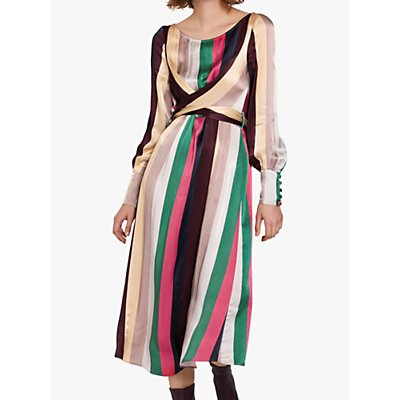 Ghost Bey Fluid Stripe Midi Dress, Multi