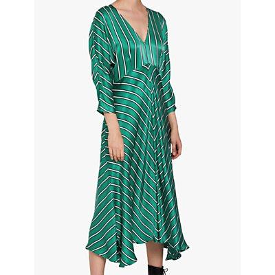 Ghost Georgia Pinstripe Satin Dress, Green