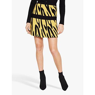 Damsel in a Dress Lia Zebra Print Skirt, Black/Yellow