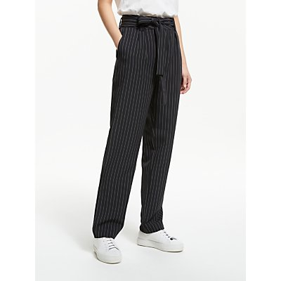 Gestuz Nala Stripe Straight Fit Trousers, Black