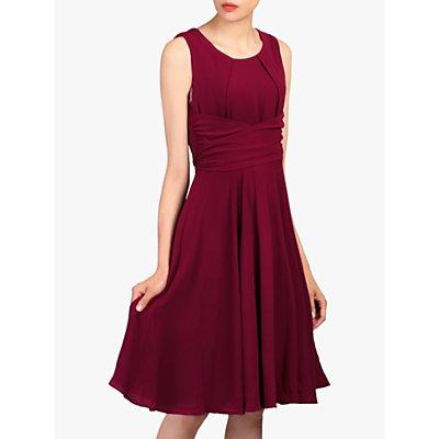 Jolie Moi Ruched Belt Flare Dress