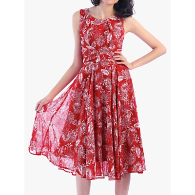 Jolie Moi Sleeveless Floral Print Dress, Red Pattern