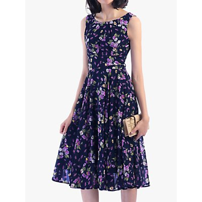 Jolie Moi Floral Print Flared Dress, Navy