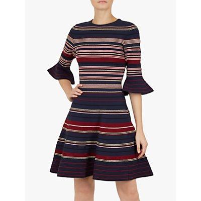Ted Baker Tayiny Ottoman Stripe Ruffle Dress, Navy/Multi