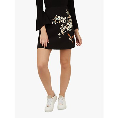 Ted Baker Maiyaa Floral Embroidery Crepe A-Line Skirt, Black