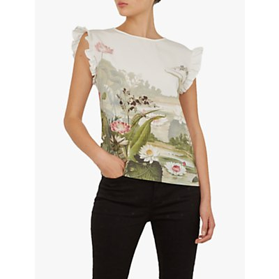 Ted Baker Coorai Ruffle Cap Sleeve Floral Blouse, Ivory/Multi