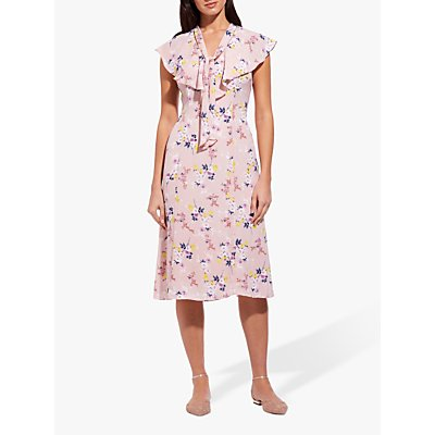 Adrianna Papell Floral V-Neck Ruffle Dress, Pink Blush