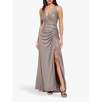 Adrianna Papell Long Metallic Jersey Dress, Mink