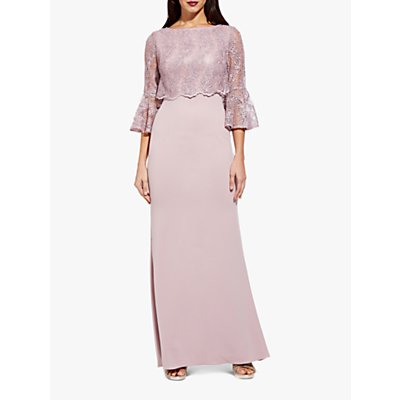 Adrianna Papell Embroidered Maxi Dress, Dusty Rose