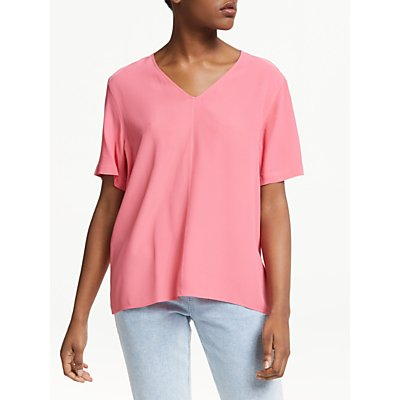 PS Paul Smith V-Neck Silk Blend Top, Coral