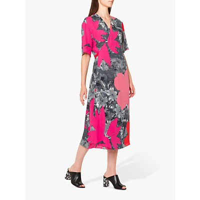 PS Paul Smith Large Floral Print Tie Back Midi Dress, Pink/Multi