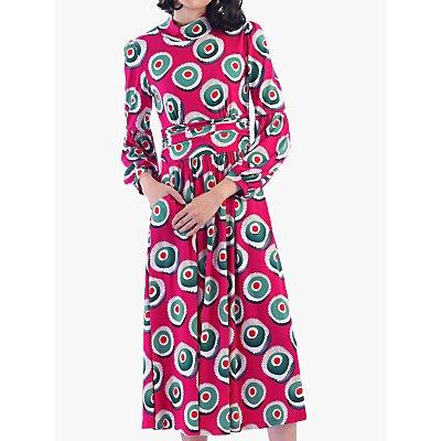 Jolie Moi Funnel Neck Retro Print Midi Dress, Plum