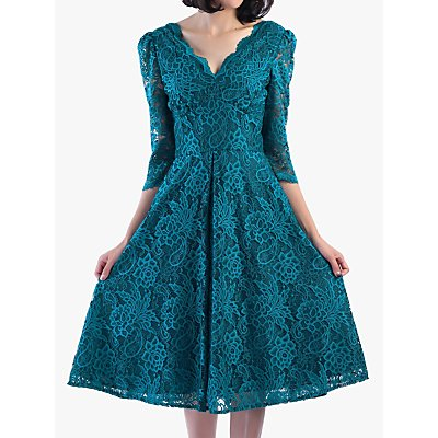 Jolie Moi Puff Shoulder V-Neck Lace Dress, Teal