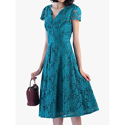 Jolie Moi Cap Sleeve Lace Dress, Teal