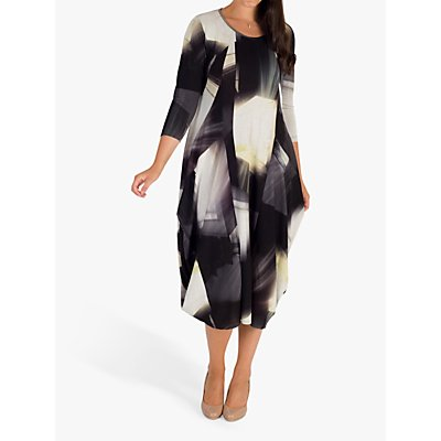 Chesca Abstract Print Jersey Draped Dress, Black