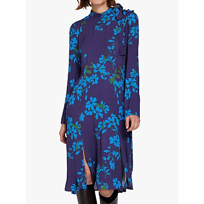 Ghost Demi Floral Crepe Dress, Purple