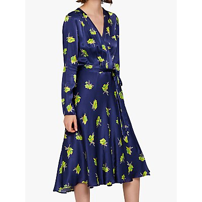 Ghost Orla Tie Wrap Satin Dress, Blue