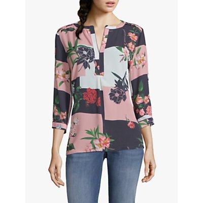 Betty & Co. Colour Block Floral Print Blouse, Pink/Blue