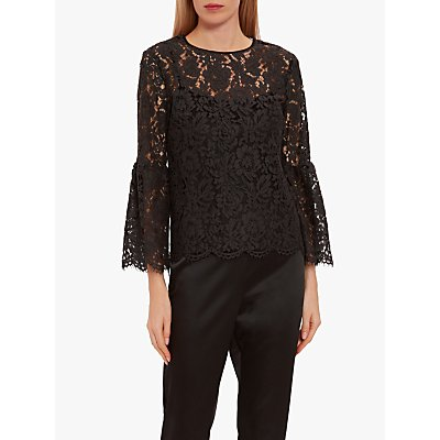 Gina Bacconi Rozana Lace Top, Charcoal
