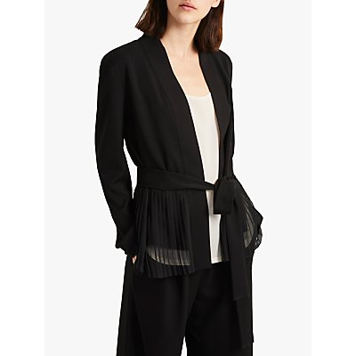 French Connection Angeline Belted Pleat Detail Blazer, Black