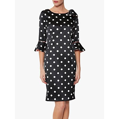 Gina Bacconi Bryna Spot Dress, Black/White