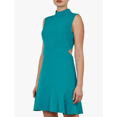 Ted Baker Cormier Cut Out Fluted Shift Dress, Turquoise