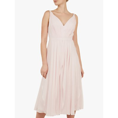 Ted Baker Celeyst Pleated Midi Dress, Light Pink