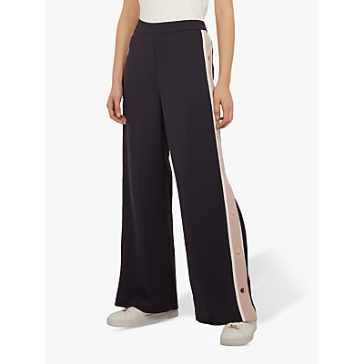 Ted Baker Wahnona Side Stripe Wide Leg Trousers, Mid Blue