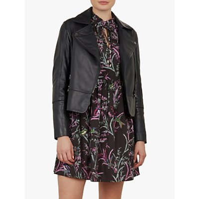Ted Baker Mandyy Leather Biker Jacket, Navy