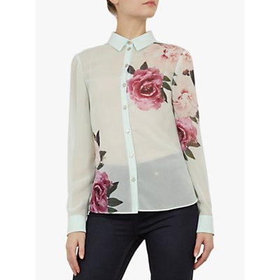 Ted Baker Zaylaa Floral Blouse, Green Mint
