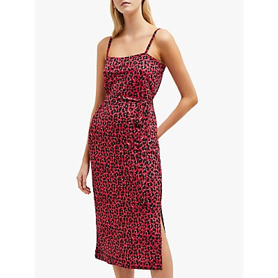 French Connection Anna Jersey Leopard Print Dress, Red