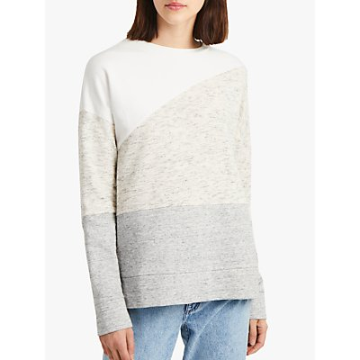 French Connection Patchwork Crew Neck Sweatshirt, Multi Grey