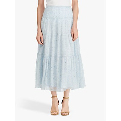 Ralph Lauren Floral Georgette Peasant Skirt, English Blue
