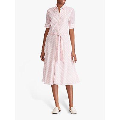Lauren Ralph Lauren Stripe Belted Shirt Dress, Dry Berry/Multi