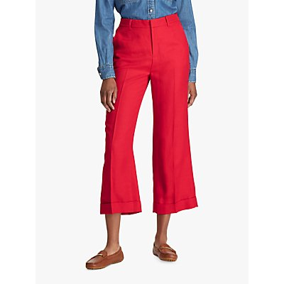 Ralph Lauren Larabeth Wide Leg Trousers, Lipstick Red