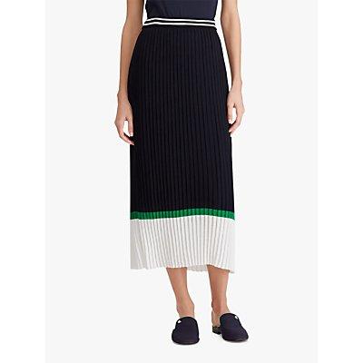 Ralph Lauren Thelonia Pleated Skirt, Navy/Multi