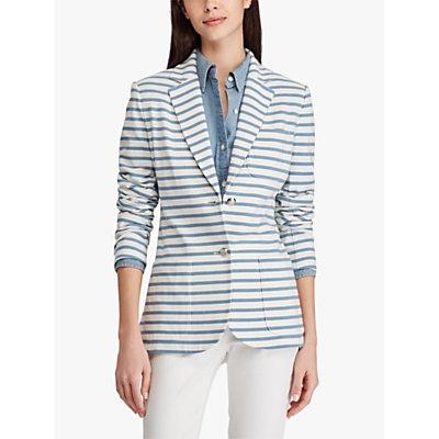 Lauren Ralph Lauren Tienzy Jersey Jacket, Mascarpone Cream/Blue Shadow