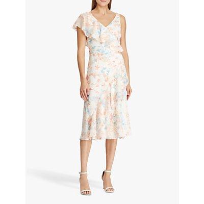 Lauren Ralph Lauren Libbie Floral Print Georgette Dress, Cream/Orange