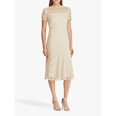 Lauren Ralph Lauren Loki Lace Cocktail Dress, Cashew