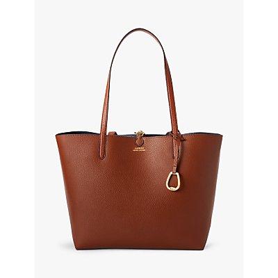 Lauren Ralph Lauren Reversible Faux Leather Tote Bag, Tan/Navy Stripe